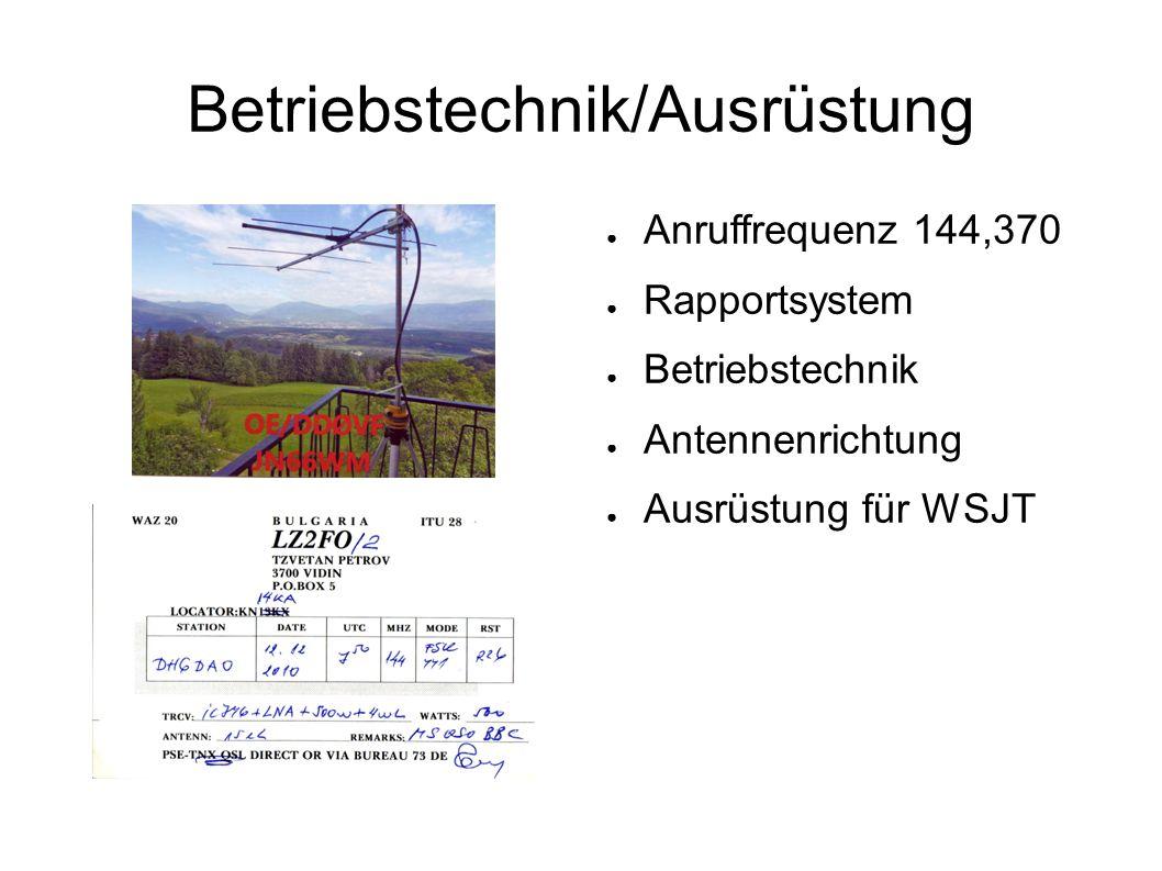 Betriebstechnik/Ausrüstung ● Anruffrequenz 144,370 ● Rapportsystem ● Betriebstechnik ● Antennenrichtung ● Ausrüstung für WSJT