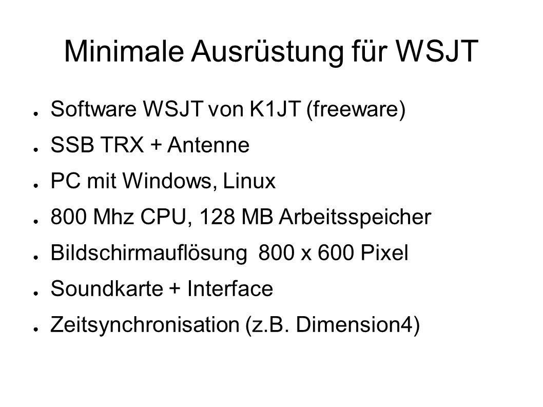 Minimale Ausrüstung für WSJT ● Software WSJT von K1JT (freeware) ● SSB TRX + Antenne ● PC mit Windows, Linux ● 800 Mhz CPU, 128 MB Arbeitsspeicher ● Bildschirmauflösung 800 x 600 Pixel ● Soundkarte + Interface ● Zeitsynchronisation (z.B.