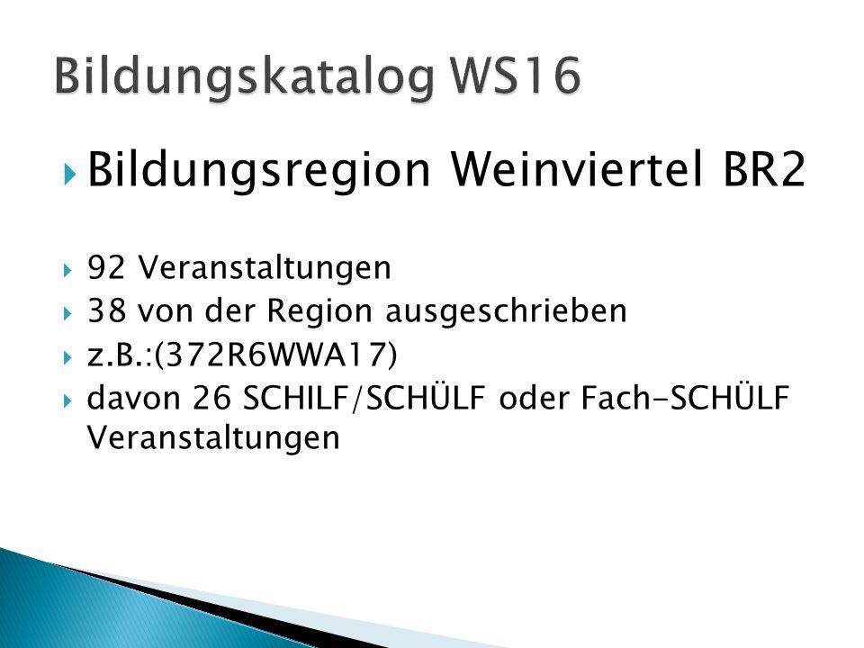  Bildungsregion Weinviertel BR2  92 Veranstaltungen  38 von der Region ausgeschrieben  z.B.:(372R6WWA17)  davon 26 SCHILF/SCHÜLF oder Fach-SCHÜLF Veranstaltungen