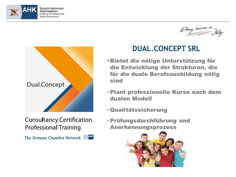 DUAL.CONCEPT SRL Bietet die nötige Unterstützung für die Entwicklung der Strukturen, die für die duale Berufsausbildung nötig sind Plant professionelle Kurse nach dem dualen Modell Qualitätssicherung Prüfungsdurchführung und Anerkennungsprozess