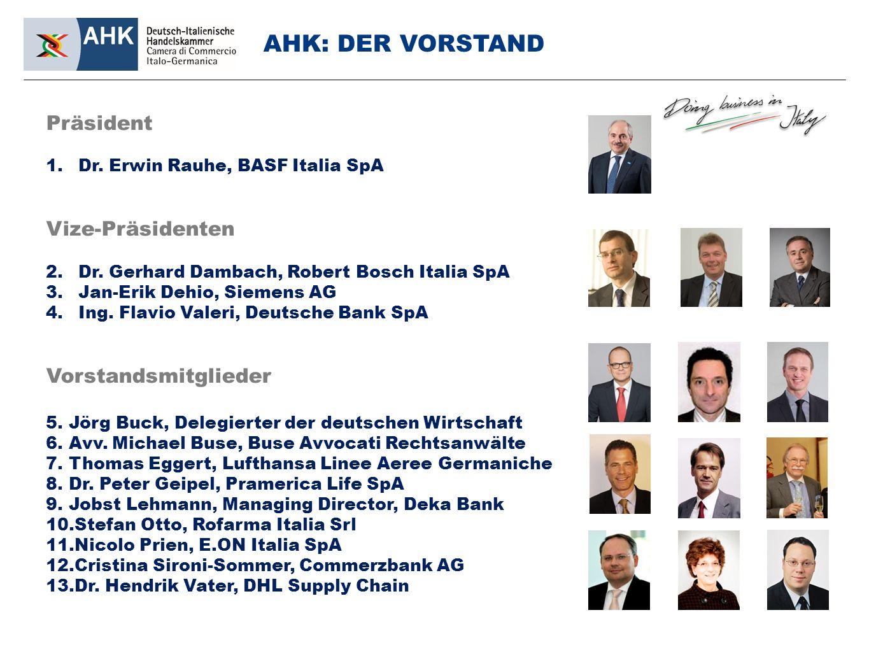 Präsident 1.Dr. Erwin Rauhe, BASF Italia SpA Vize-Präsidenten 2.Dr.