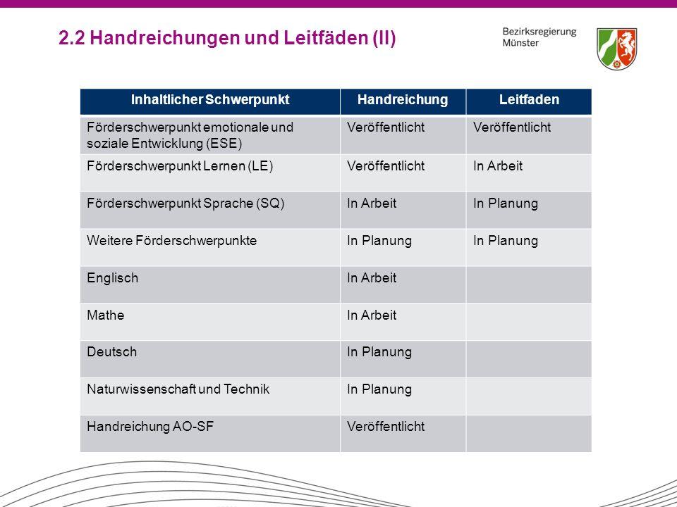 2.2 Handreichungen und Leitfäden (II) Inhaltlicher SchwerpunktHandreichungLeitfaden Förderschwerpunkt emotionale und soziale Entwicklung (ESE) Veröffe