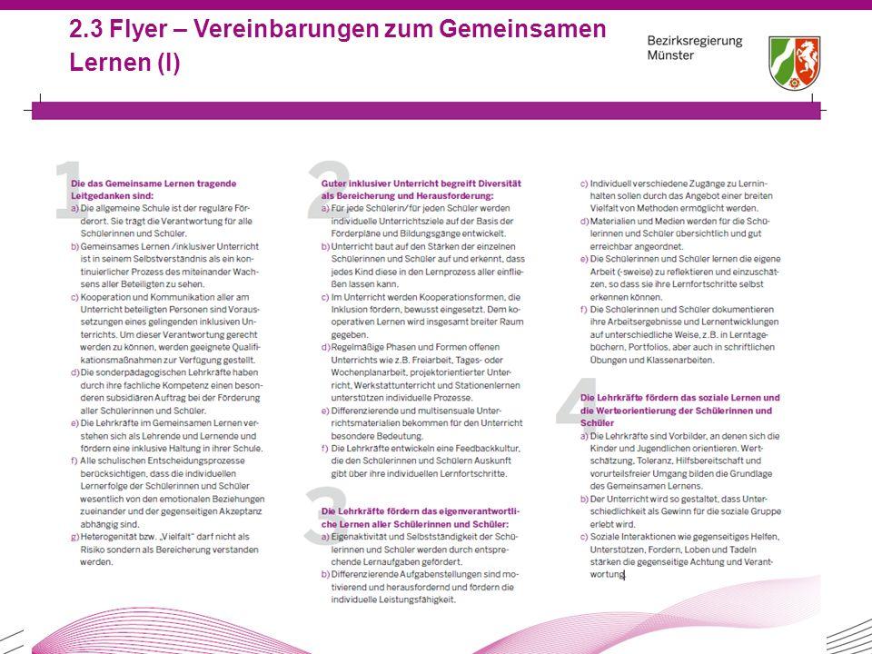 21 2.3 Flyer – Vereinbarungen zum Gemeinsamen Lernen (I)