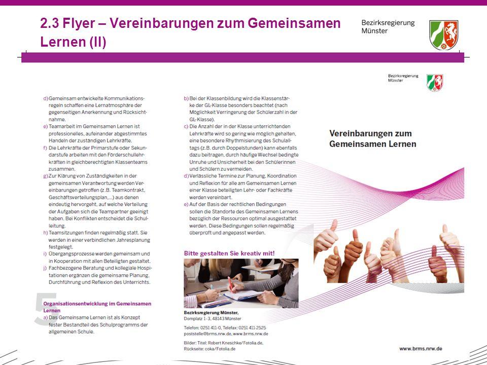22 2.3 Flyer – Vereinbarungen zum Gemeinsamen Lernen (II)