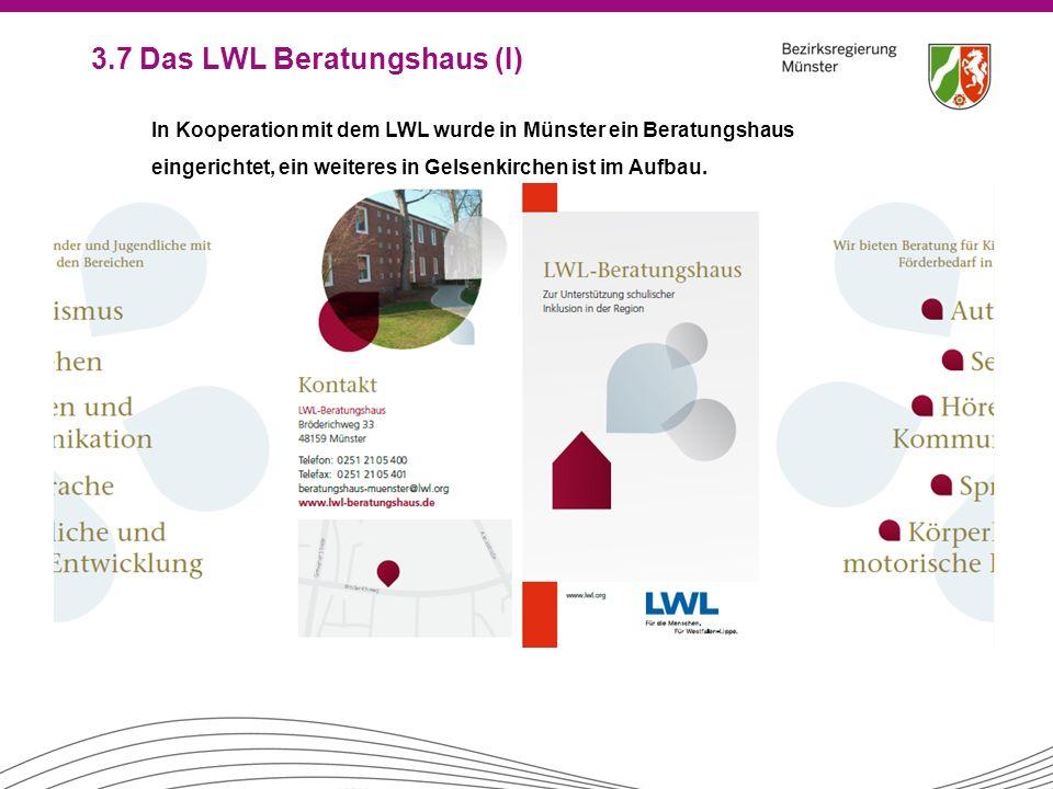 3.7 Das LWL Beratungshaus (I) In Kooperation mit dem LWL wurde in Münster ein Beratungshaus eingerichtet, ein weiteres in Gelsenkirchen ist im Aufbau.