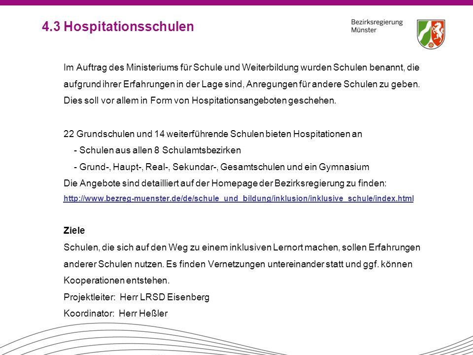 4.3 Hospitationsschulen Im Auftrag des Ministeriums für Schule und Weiterbildung wurden Schulen benannt, die aufgrund ihrer Erfahrungen in der Lage si