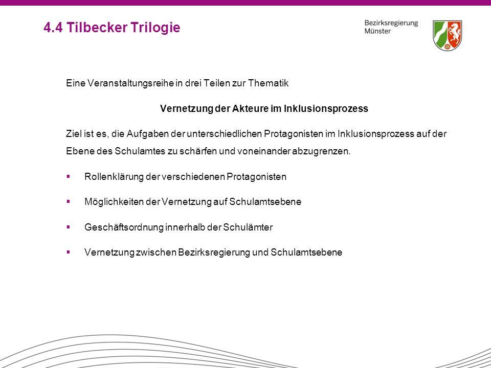 4.4 Tilbecker Trilogie Eine Veranstaltungsreihe in drei Teilen zur Thematik Vernetzung der Akteure im Inklusionsprozess Ziel ist es, die Aufgaben der