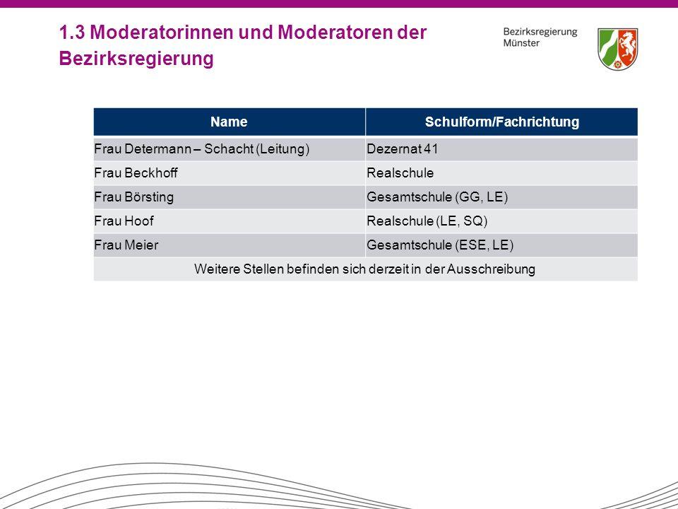 1.3 Moderatorinnen und Moderatoren der Bezirksregierung NameSchulform/Fachrichtung Frau Determann – Schacht (Leitung)Dezernat 41 Frau BeckhoffRealschu