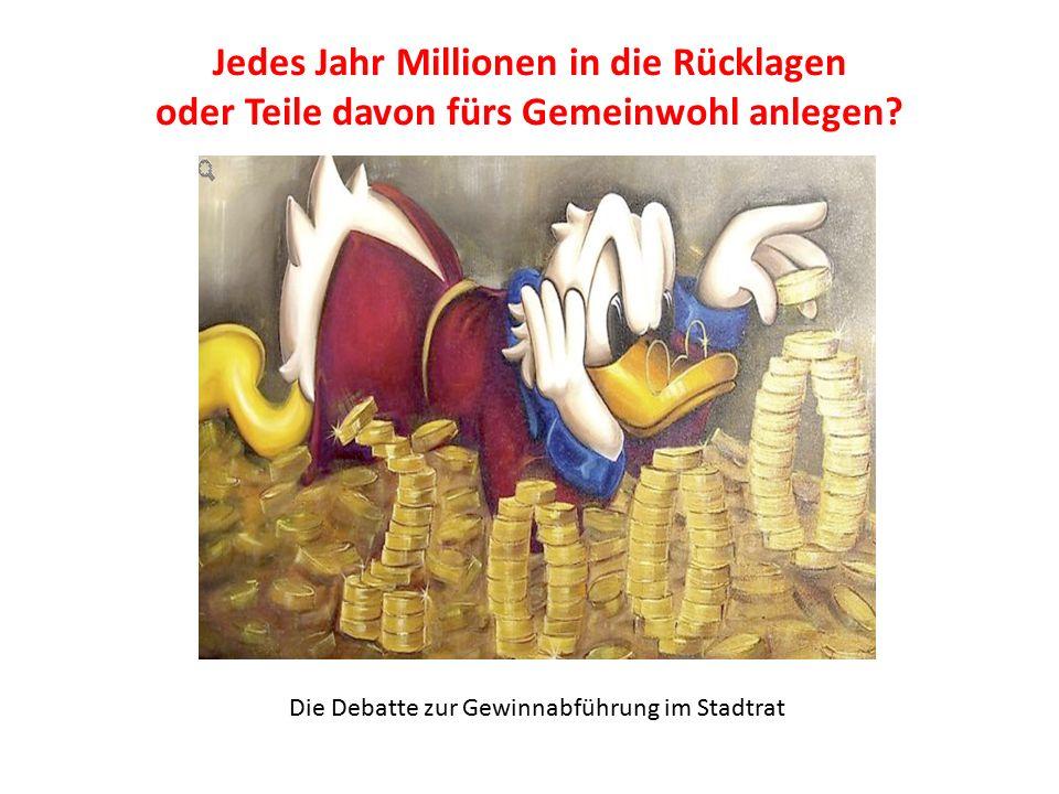 KI fordert Gewinnabführung Wir wollten, dass der Stadtrat den im Verwaltungsrat der Sparkasse Aschaffenburg- Alzenau vertretenen Mitgliedern des Stadtrates empfiehlt, 2015 auf eine Gewinnausschüttung in Höhe von 2,970 Mio.