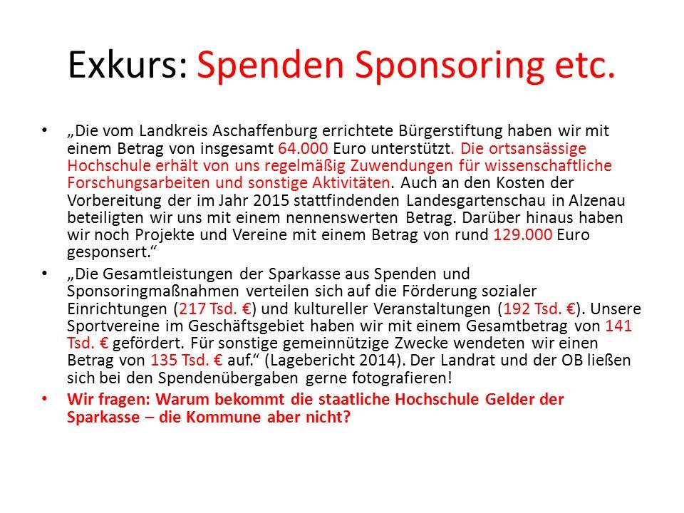 Exkurs: Spenden Sponsoring etc.