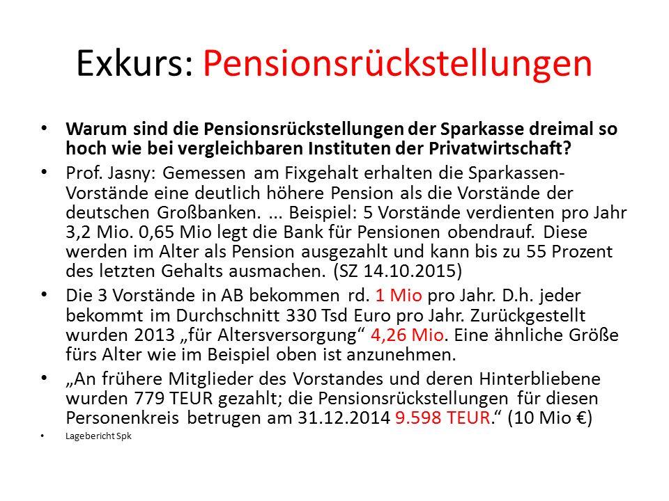 Exkurs: Pensionsrückstellungen Warum sind die Pensionsrückstellungen der Sparkasse dreimal so hoch wie bei vergleichbaren Instituten der Privatwirtschaft.