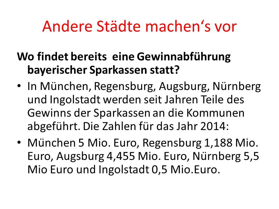 Andere Städte machen's vor Wo findet bereits eine Gewinnabführung bayerischer Sparkassen statt.