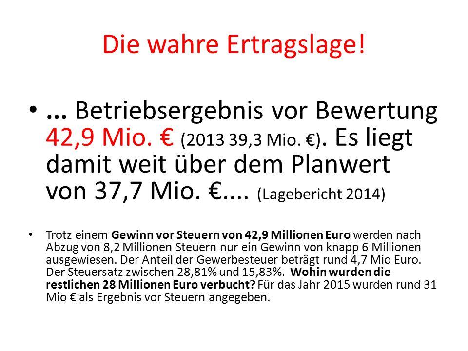 Die wahre Ertragslage!... Betriebsergebnis vor Bewertung 42,9 Mio.