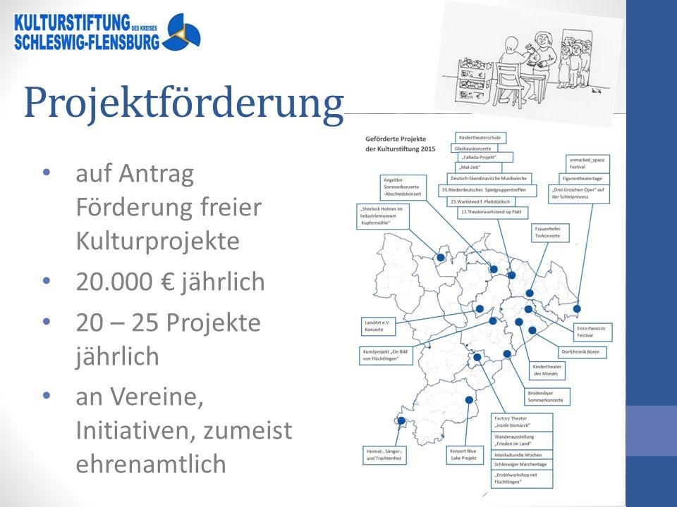 Projektförderung auf Antrag Förderung freier Kulturprojekte 20.000 € jährlich 20 – 25 Projekte jährlich an Vereine, Initiativen, zumeist ehrenamtlich