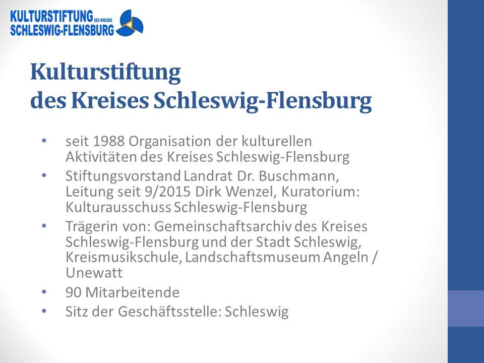 Kulturstiftung des Kreises Schleswig-Flensburg seit 1988 Organisation der kulturellen Aktivitäten des Kreises Schleswig-Flensburg Stiftungsvorstand Landrat Dr.