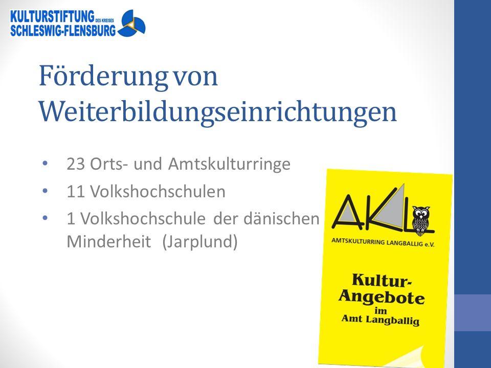 Förderung von Weiterbildungseinrichtungen 23 Orts- und Amtskulturringe 11 Volkshochschulen 1 Volkshochschule der dänischen Minderheit (Jarplund)