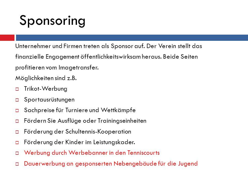 Sponsoring Unternehmer und Firmen treten als Sponsor auf. Der Verein stellt das finanzielle Engagement öffentlichkeitswirksam heraus. Beide Seiten pro