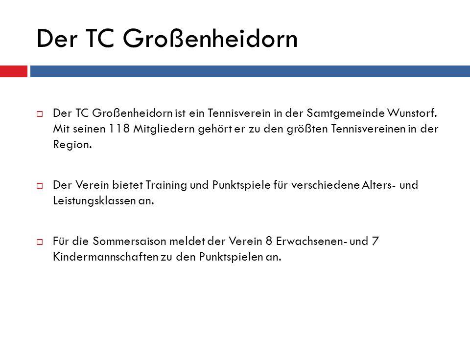 Veranstaltungen Neben Training und Punktspielen bietet der TCG auch weitere Aktivitäten an:  Saisoneröffnung  Sommerfest  Weihnachtsfeier  Vereinsmeisterschaften  Schultennis Cup in Kooperation mit der Grundschule Poggenhagen und Großenheidorn  uvm.