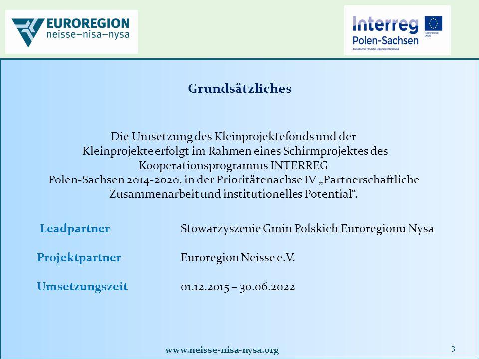 www.neisse-nisa-nysa.org 4 Kleinprojekte an der polnisch-sächsischen Grenze sollen dazu dienen, grenzübergreifende Kooperationen in allen Bereichen des gesellschaftlichen Leben auszubauen und zu intensivieren.