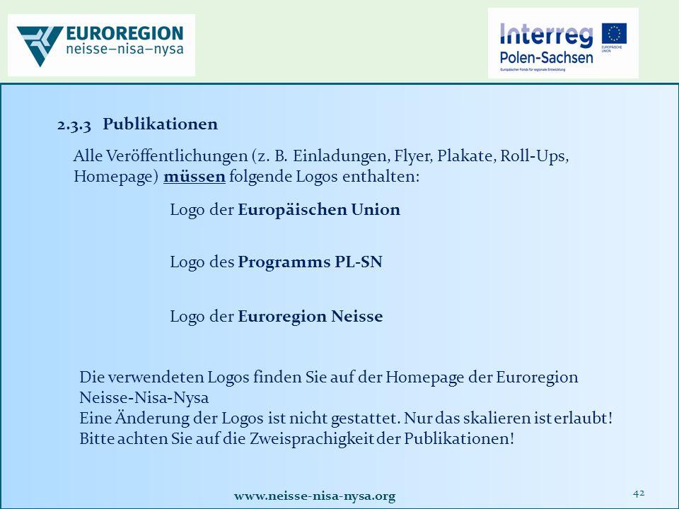 www.neisse-nisa-nysa.org 42 2.3.3 Publikationen Alle Veröffentlichungen (z.