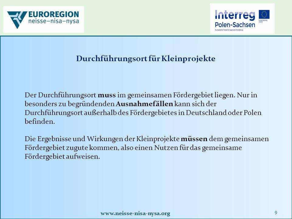 www.neisse-nisa-nysa.org 40 2.3 Dokumente / Formulare zur Abrechnung des Kleinprojektes Alle erforderlichen Formulare finden Sie auf der Homepage der Euroregion Neisse.