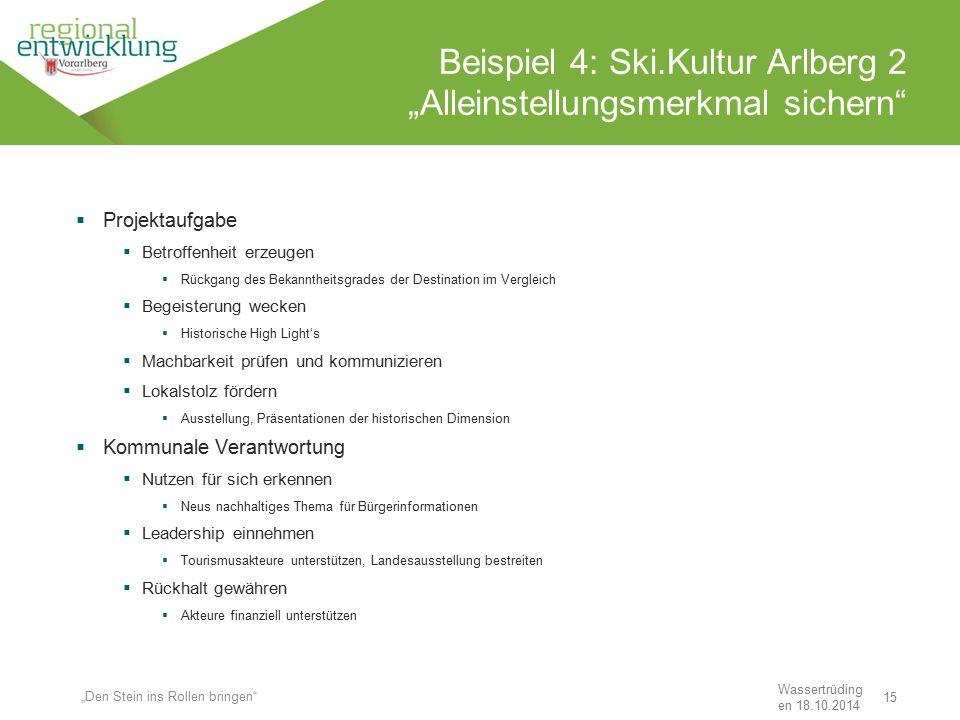 """15 Beispiel 4: Ski.Kultur Arlberg 2 """"Alleinstellungsmerkmal sichern"""" Wassertrüding en 18.10.2014 """"Den Stein ins Rollen bringen""""  Projektaufgabe  Bet"""