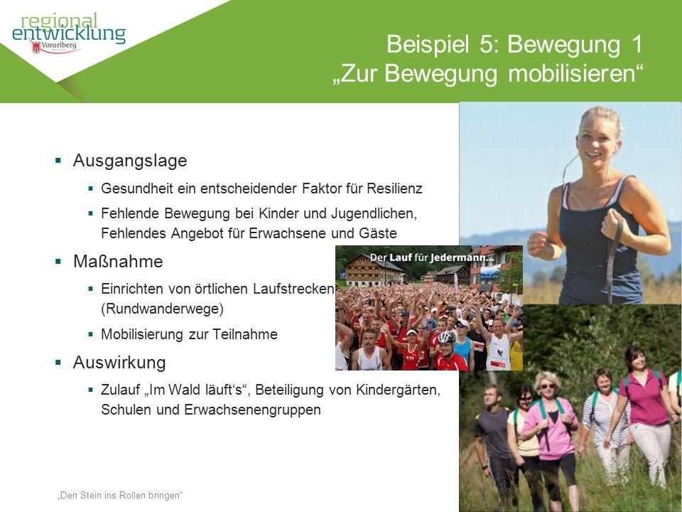 """16 Beispiel 5: Bewegung 1 """"Zur Bewegung mobilisieren"""" Wassertrüding en 18.10.2014 """"Den Stein ins Rollen bringen""""  Ausgangslage  Gesundheit ein entsc"""