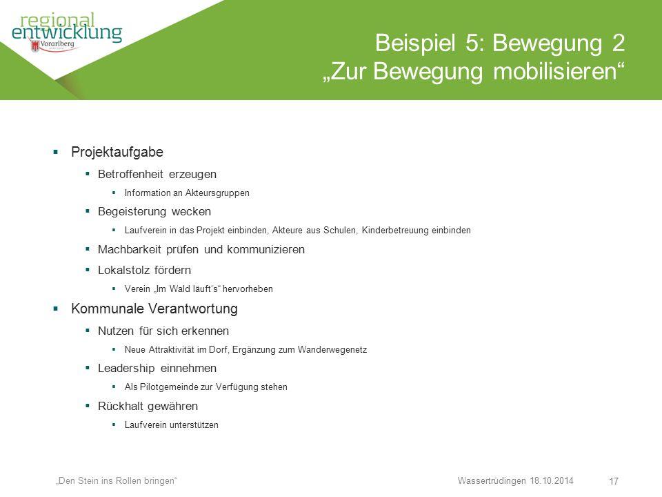 """17 Beispiel 5: Bewegung 2 """"Zur Bewegung mobilisieren"""" Wassertrüdingen 18.10.2014 """"Den Stein ins Rollen bringen""""  Projektaufgabe  Betroffenheit erzeu"""