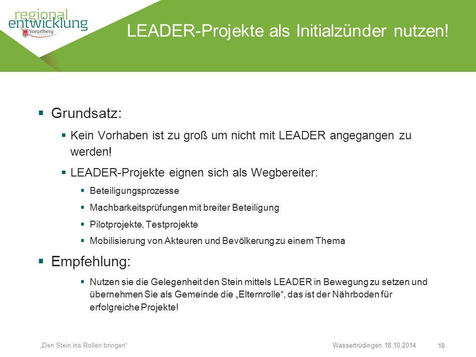 """18 LEADER-Projekte als Initialzünder nutzen! Wassertrüdingen 18.10.2014 """"Den Stein ins Rollen bringen""""  Grundsatz:  Kein Vorhaben ist zu groß um nic"""