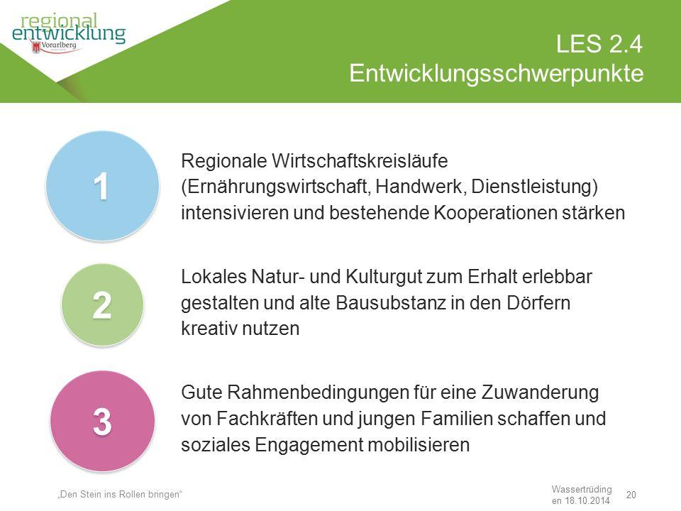 20 LES 2.4 Entwicklungsschwerpunkte Wassertrüding en 18.10.2014 Regionale Wirtschaftskreisläufe (Ernährungswirtschaft, Handwerk, Dienstleistung) inten