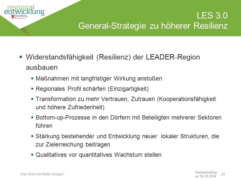 21 LES 3.0 General-Strategie zu höherer Resilienz Wassertrüding en 18.10.2014  Widerstandsfähigkeit (Resilienz) der LEADER-Region ausbauen  Maßnahme