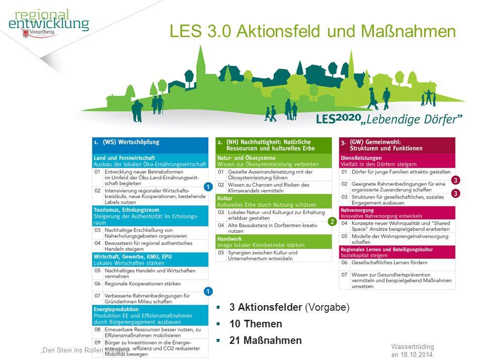 """23 LES 3.0 Aktionsfeld und Maßnahmen Wassertrüding en 18.10.2014  3 Aktionsfelder (Vorgabe)  10 Themen  21 Maßnahmen """"Den Stein ins Rollen bringen"""""""