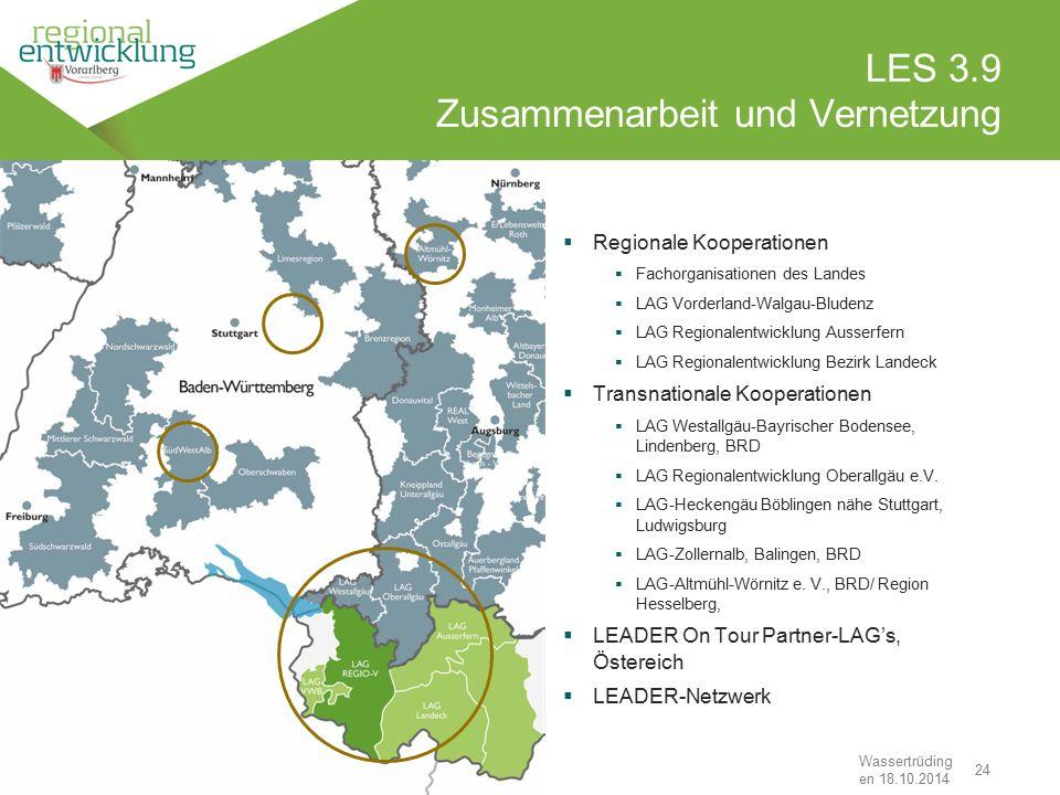 """24 LES 3.9 Zusammenarbeit und Vernetzung Wassertrüding en 18.10.2014 """"Den Stein ins Rollen bringen""""  Regionale Kooperationen  Fachorganisationen des"""