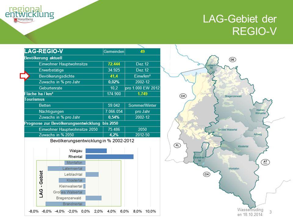 """3 LAG-Gebiet der REGIO-V Wassertrüding en 18.10.2014 """"Den Stein ins Rollen bringen"""" LAG-REGIO-V Gemeinden49 Bevölkerung aktuell Einwohner Hauptwohnsit"""