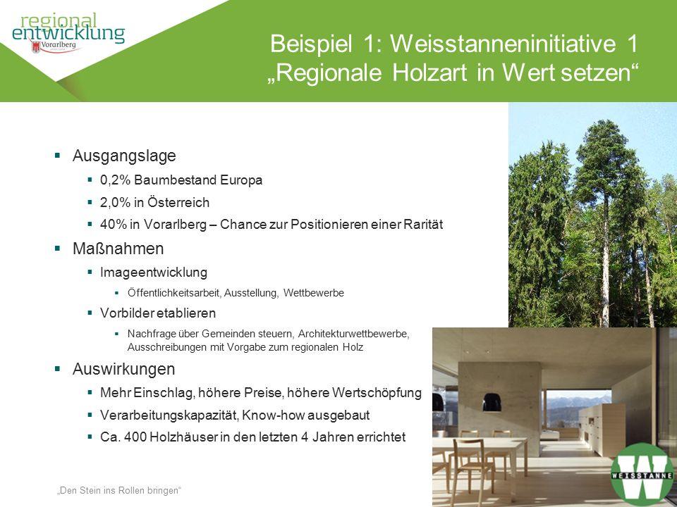 """8 Beispiel 1: Weisstanneninitiative 1 """"Regionale Holzart in Wert setzen"""" Wassertrüding en 18.10.2014 """"Den Stein ins Rollen bringen""""  Ausgangslage  0"""