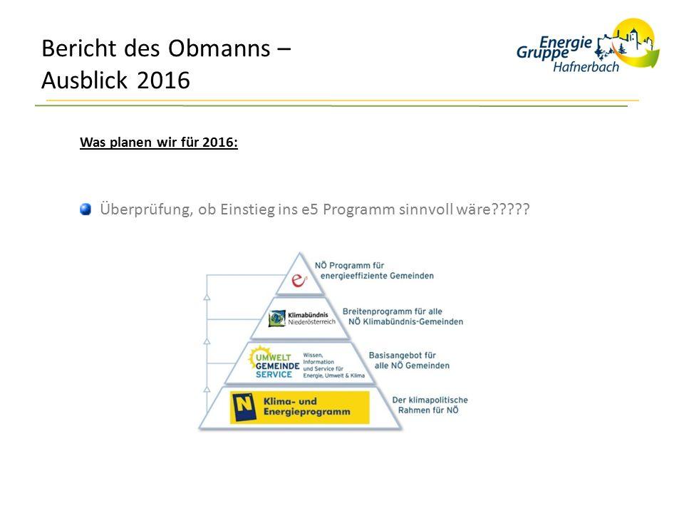 Bericht des Obmanns – Ausblick 2016 Was planen wir für 2016: Überprüfung, ob Einstieg ins e5 Programm sinnvoll wäre?????