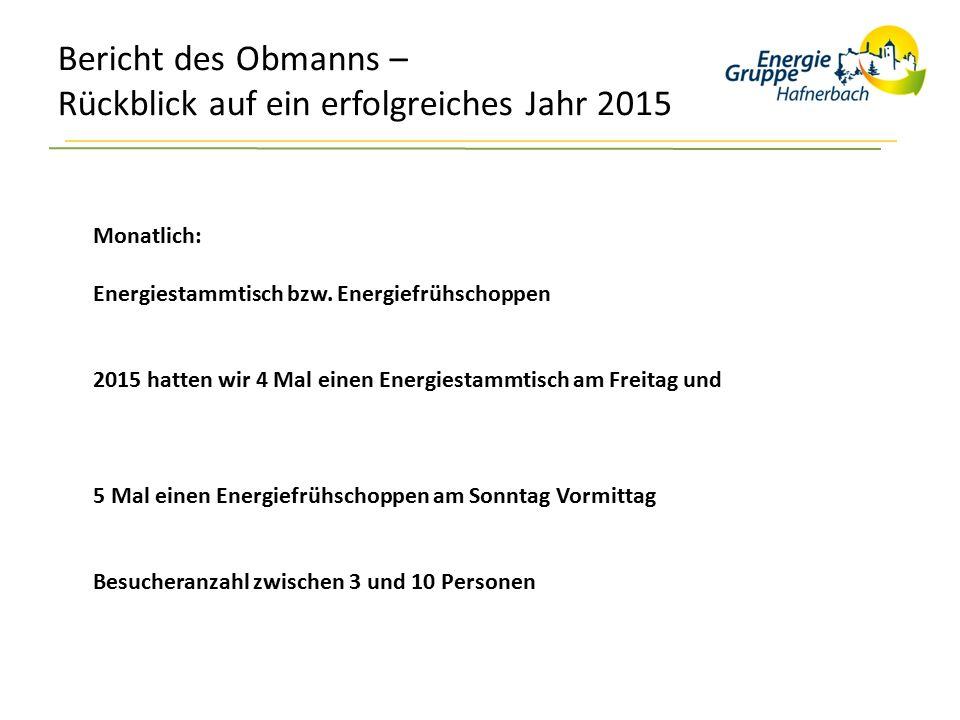 Bericht des Obmanns – Rückblick auf ein erfolgreiches Jahr 2015 Monatlich: Energiestammtisch bzw. Energiefrühschoppen 2015 hatten wir 4 Mal einen Ener