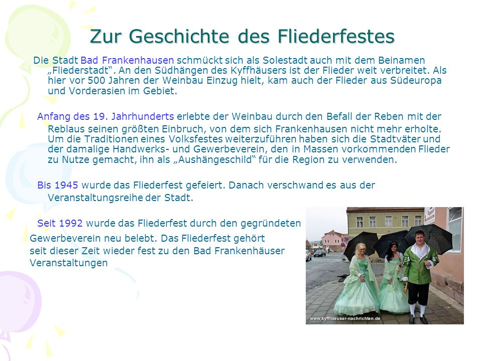 """Zur Geschichte des Fliederfestes Die Stadt Bad Frankenhausen schmückt sich als Solestadt auch mit dem Beinamen """"Fliederstadt"""". An den Südhängen des Ky"""