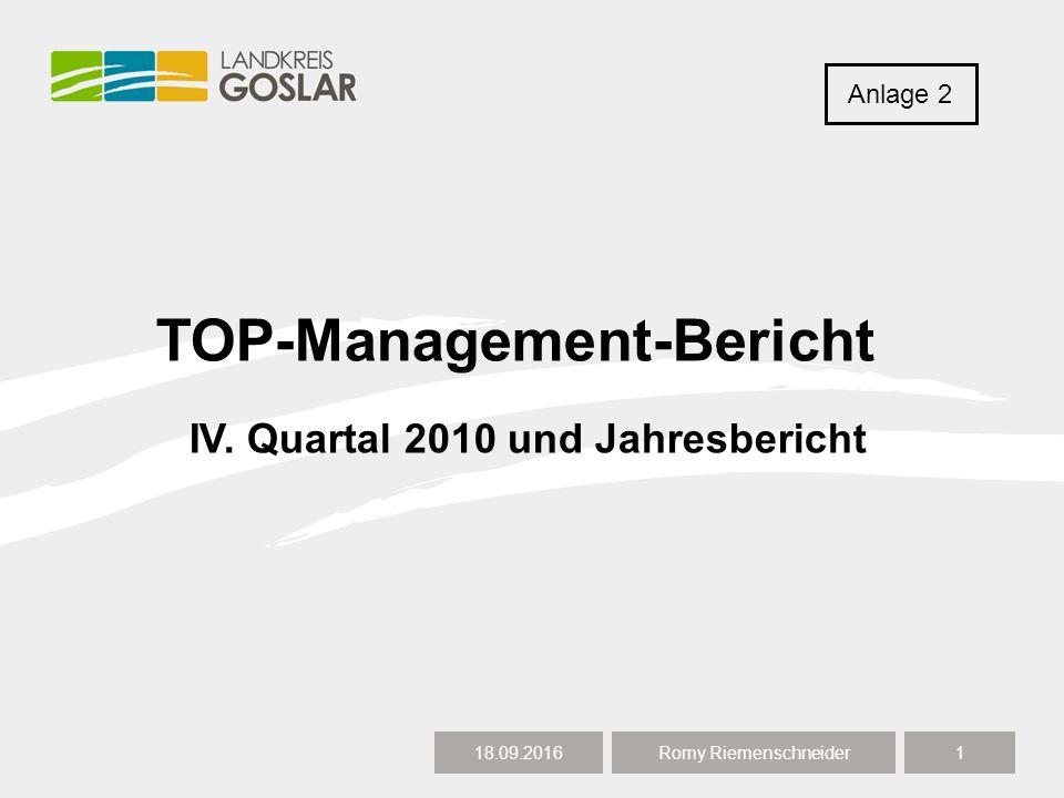 TOP-Management-Bericht 18.09.20161 Romy Riemenschneider IV. Quartal 2010 und Jahresbericht Anlage 2