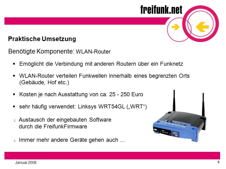 Januar 2008 4 Praktische Umsetzung Benötigte Komponente: WLAN-Router  Emöglicht die Verbindung mit anderen Routern über ein Funknetz  WLAN-Router ve