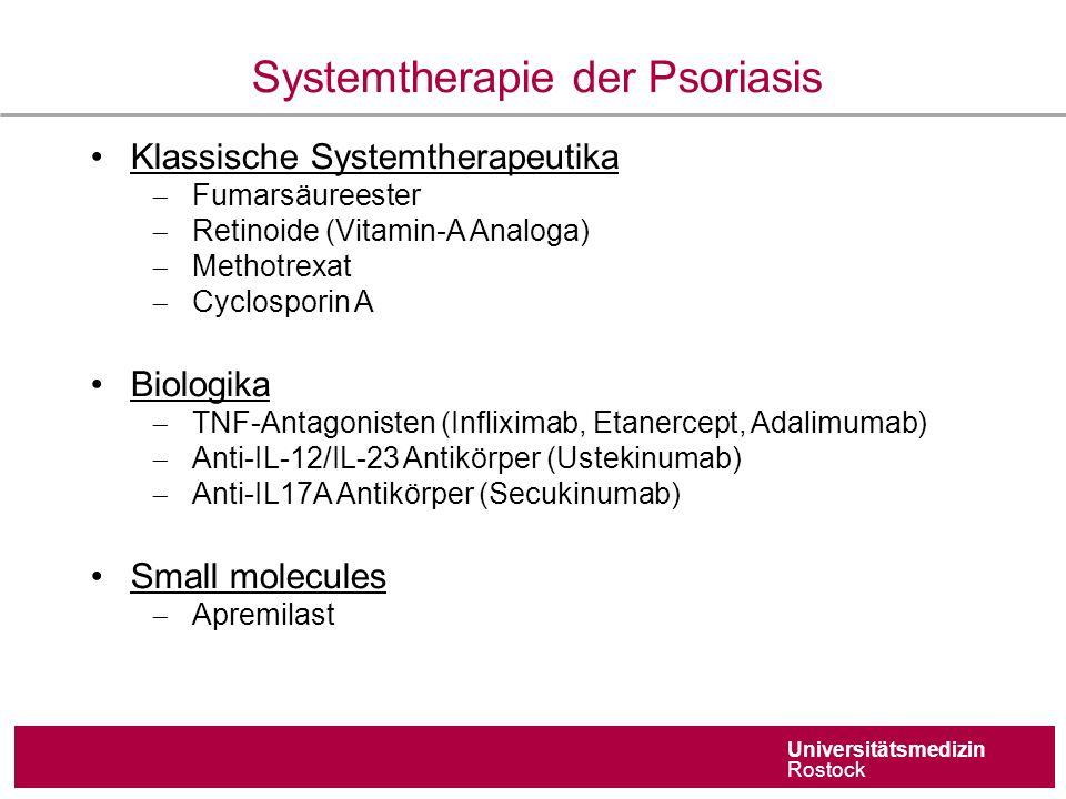 Universitätsmedizin Rostock Systemtherapie der Psoriasis Klassische Systemtherapeutika  Fumarsäureester  Retinoide (Vitamin-A Analoga)  Methotrexat  Cyclosporin A Biologika  TNF-Antagonisten (Infliximab, Etanercept, Adalimumab)  Anti-IL-12/IL-23 Antikörper (Ustekinumab)  Anti-IL17A Antikörper (Secukinumab) Small molecules  Apremilast