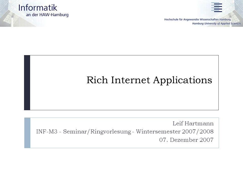 07.12.2007 Leif Hartmann – Rich Internet Applications 12 Präsentation  Klassisch:  HTML, einfache Bedienelemente  Viele Page-Refreshes  RIA:  Vielfältige Bedienelemente  Erweitertes Benutzerinteraktion  Drag and Drop  Animationen  Unterschiedliche Funktionalitäten des Clients  Bildschirmgröße  Multimedia-Unterstützung