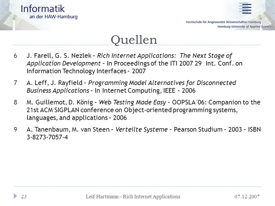 07.12.2007 Leif Hartmann – Rich Internet Applications 23 Quellen 6J. Farell, G. S. Nezlek – Rich Internet Applications: The Next Stage of Application