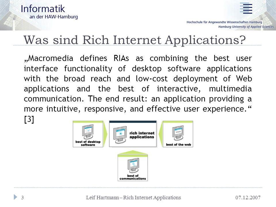 07.12.2007 Leif Hartmann – Rich Internet Applications 4 Kompetenzverteilung