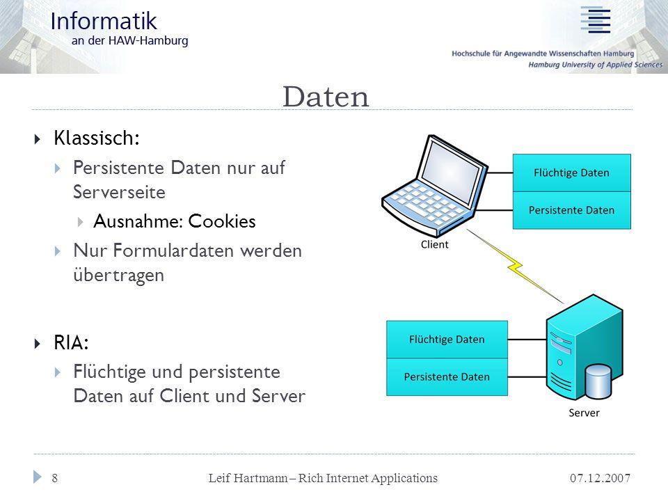 07.12.2007 Leif Hartmann – Rich Internet Applications 19 Anforderungen  Offline-Funktionalität  Anwendungscode offline  Persistente Daten auf Clientseite  Robuste Clientplattform (Kompatibilität)  Möglichst hohe Verbreitung der Clientplattform