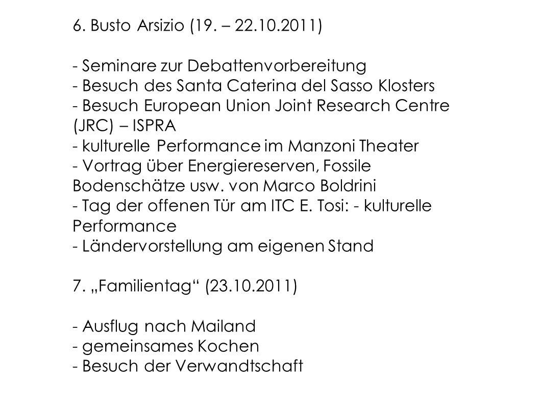6. Busto Arsizio (19. – 22.10.2011) - Seminare zur Debattenvorbereitung - Besuch des Santa Caterina del Sasso Klosters - Besuch European Union Joint R