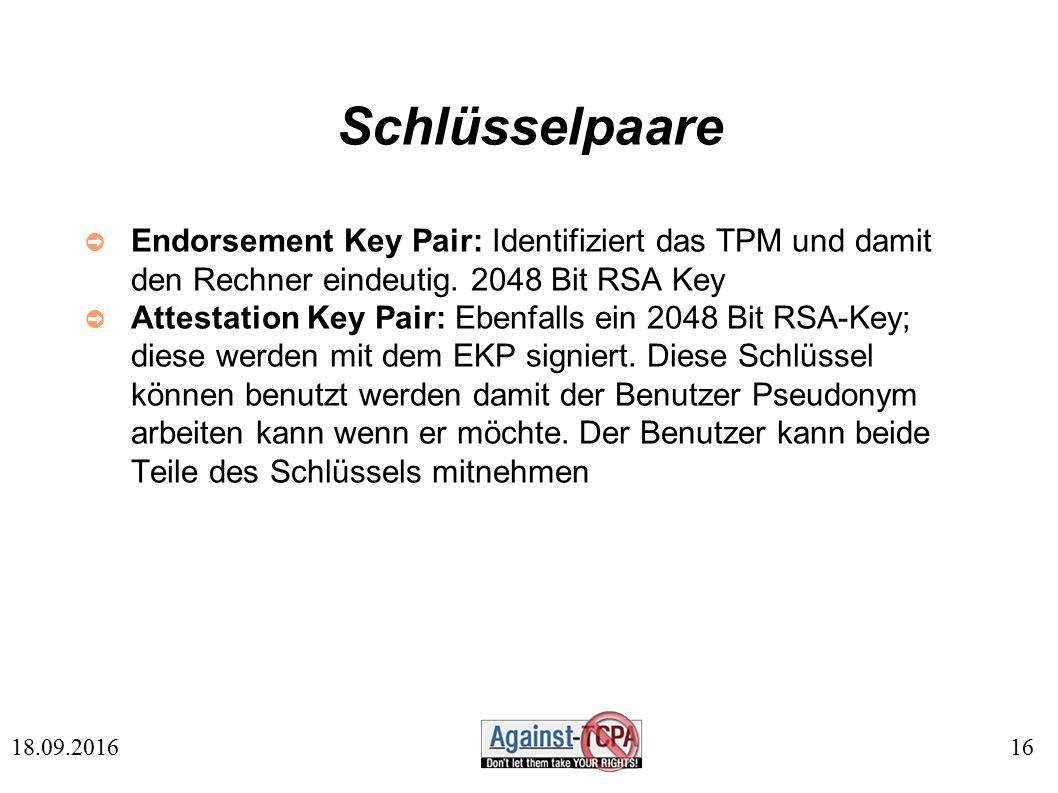 16 18.09.2016 Schlüsselpaare ➲ Endorsement Key Pair: Identifiziert das TPM und damit den Rechner eindeutig.