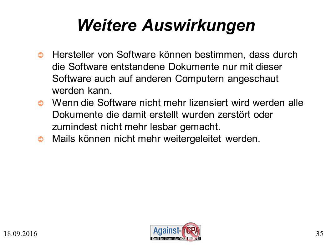35 18.09.2016 Weitere Auswirkungen ➲ Hersteller von Software können bestimmen, dass durch die Software entstandene Dokumente nur mit dieser Software auch auf anderen Computern angeschaut werden kann.