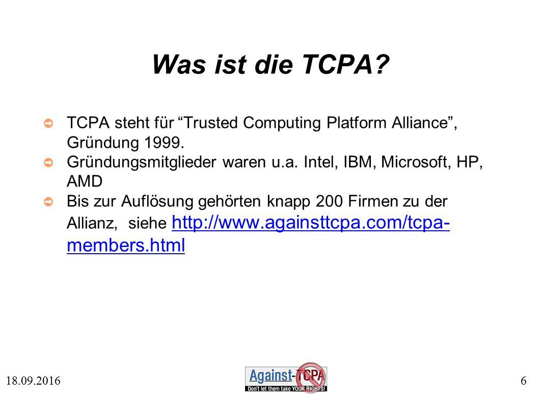 6 18.09.2016 Was ist die TCPA.