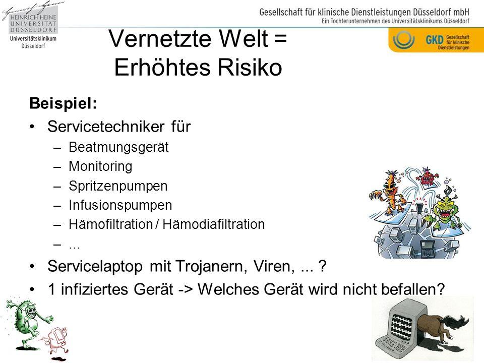 Beispiel: Servicetechniker für –Beatmungsgerät –Monitoring –Spritzenpumpen –Infusionspumpen –Hämofiltration / Hämodiafiltration –...